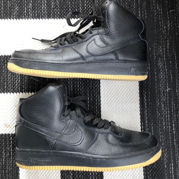 Nike Shoes Air Force 1 Black High Top Gold Tread 8 Poshmark